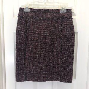 Ann Taylor Petites Plum Tweed Wool Pencil Skirt